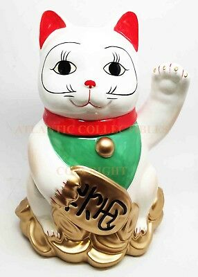 Collectible Cookie Jar Ceramic Japan Lucky Charm Golden Maneki Neko Cat Decor