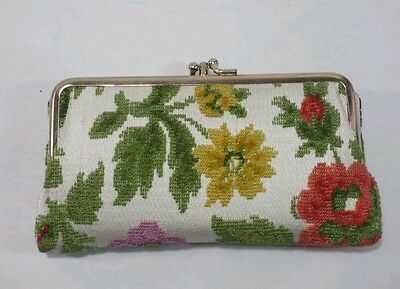 Vintage Womens Floral Tapestry and Leather Wallet Coin Purse