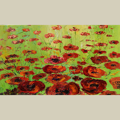 ORIGINAL OIL Painting Knife Abstract Flowers Poppies Red Modern Contemporary ART