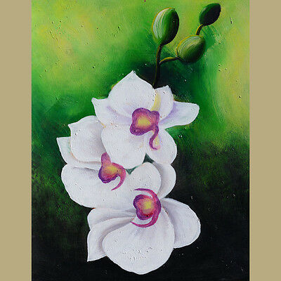 ORIGINAL Oil Painting Abstract Flowers Modern White Green Floral Blooms ART