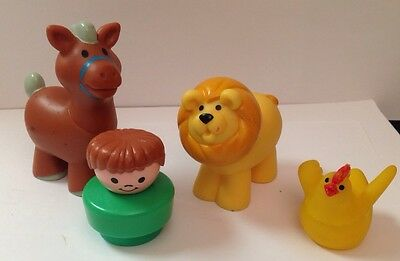 Fisher Price Chunky Little People Lot Of 4 - Boy, Lion, Horse & Chicken Figures