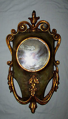 Vintage Mid Century Decorative Wall Mirror Gold Accents