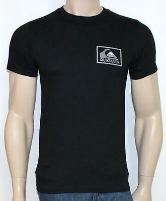 Quiksilver Chevron Box Graphic Tee Mens Black Regular Fit Crew T-Shirt New NWT S
