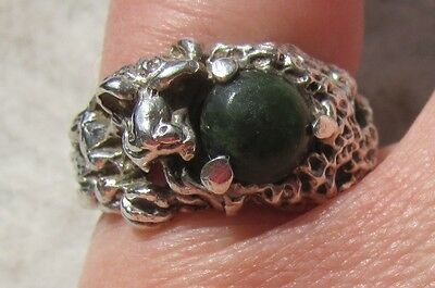 Vintage Sterling Silver Green Jade Dragon Ring, Size 5.5 or 5.75, 6.65 grams