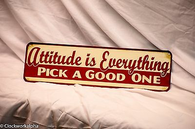 Embossed ATTITUDE is EVERYTHING SIGN Shop Garage Mechanic Man Cave Theater Mobil