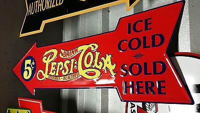 "PEPSI COLA red Arrow TIN SIGN 27"" X 9"" Bottle Vintage Style COKE Mobil Texaco"