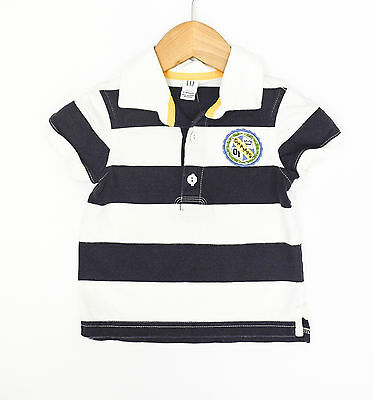 BabyGap Navy/White Champs Rugby Stripe Polo - Size 12-18 Months