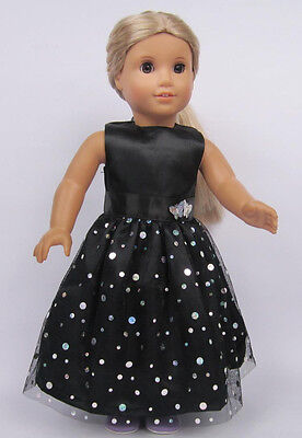 Hot Handmade black Dress for 18 inch American Girl Doll Clothes lb28