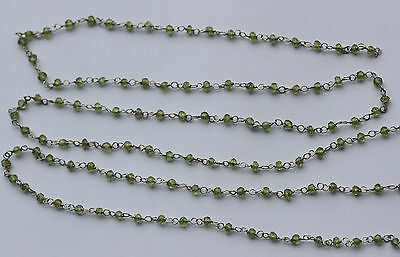 Peridot Faceted Rondelle Beads on Hand Crafted Silver Link Chain - One Metre