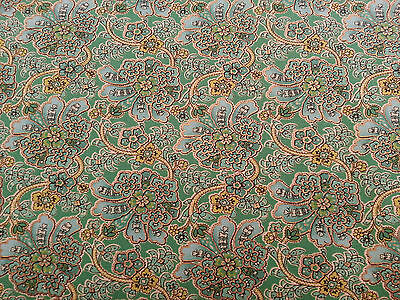 Maharaja Judy Martin Quilting Treasure BTY Green Aqua Floral with Metallic Gold