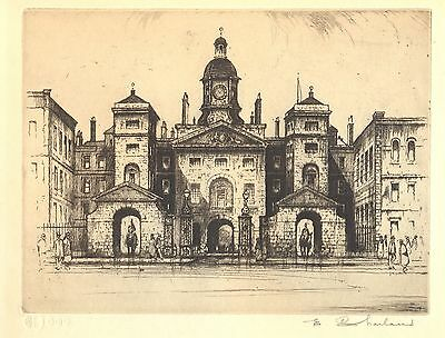 The Horse Guards London Edward Sharland Vintage Etching Signed Ltd Ed 1920s