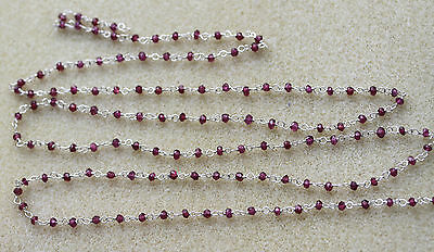 Garnet Faceted 3.5mm Rondelle Beads on Hand Crafted Silver Link Chain -One Metre