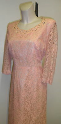 40s Pastel Pink Lace Dress with Peek-A-Boo and Rhinestone Detail