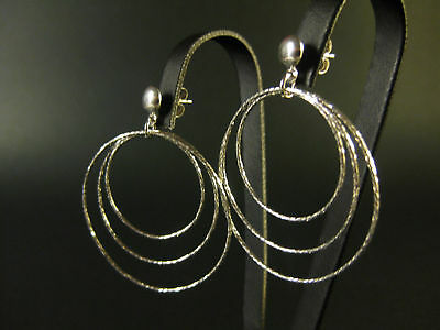 Earrings Long Dangle Dance Circles Light Reflection Platinum Joller