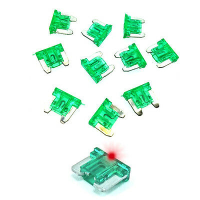 30A Green LED LOW PROFILE MINI Blade Fuse Car Auto Glow Blow 30 Amp - Pack of 10