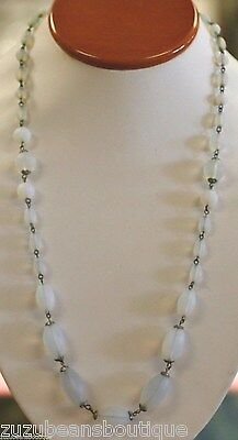 VINTAGE  CZECH WHITE OPALESCENT GLASS BEAD NECKLACE AFRICAN TRADE