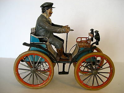 GUNTHERMANN TIN TOY CAR WIND-UP: 1897:  PEUGEOT OPEN AIR ROADSTER: SOME REPAINT