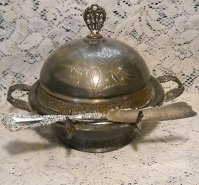 ANTIQUE 1850 PAIRPOINT MFG. QUADRUPLE SILVER PLATE BUTTER DISH w/INSERT & KNIFE