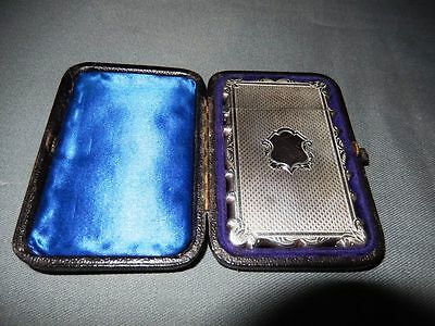 AN EXQUISITE BOXED ANTIQUE SOLID SILVER CARD CASE- DATED 1879