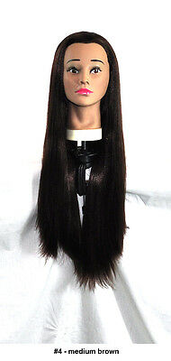 """28"""" Recurlable Human Hair Mix Blend Cosmetology Mannequin Head & FREE CLAMP (B)"""