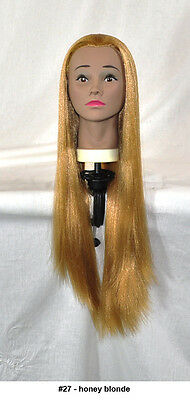 """28"""" Recurlable Human Hair Mix Blend Cosmetology Mannequin Head & FREE CLAMP (D)"""