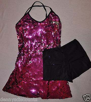 New Marcea Adult size XSmall Pink Sequin Camisole Dress with shorts item #617706