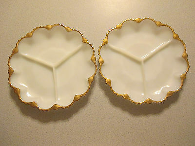 LOT OF 2 VINTAGE MILKY WHITE WITH GOLD TRIM VEGETABLE TRAYS
