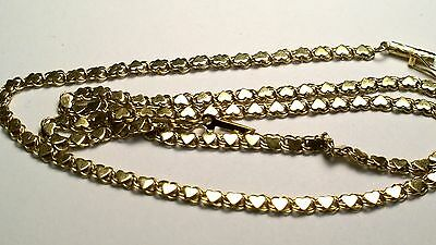 "19"" 14k yellow gold heart link chain necklace 3mm wide"