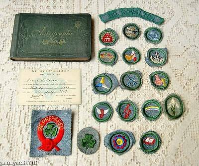 1930's-40's GIRL SCOUT 20pc Misc Lot Silver Green Badges -some Rare, Autogr Book
