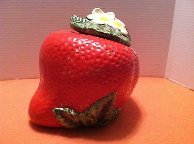 VTG American bisque Cookie Jar Strawberry~cold painted~USA~Sears 1940s-1950s