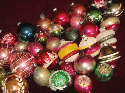 34 VINTAGE TREE ORNAMENTS SHINY BRITE INDENT & MORE