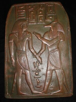 Egyptian Large plaque of Anubis and King Tut