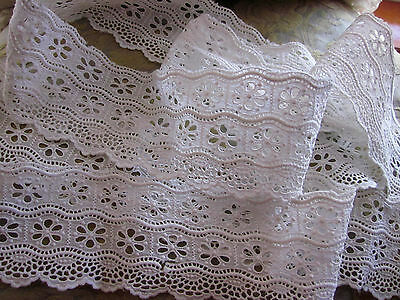 """ANTIQUE EYELET LACE TRIM LOTS OF DETAIL 3""""BY 82"""" LONG V.G.C. DOLLS BEARS CRAFTS"""