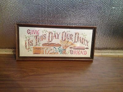 Vintage Cross Stitch Needlepoint Framed Handmade Give Us This Day Our Daily