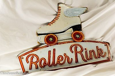 """Roller Rink Derby Embossed Tin Advertising Sign Vintage Retro Styled 16"""" x 14.5"""""""