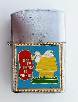 """Vintage Lighter with Snoopy """"I Think I'm Allergic to Morning"""" """"Rosette"""" Japan"""
