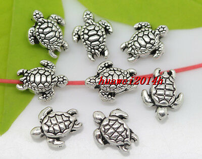 Wholesale 30pcs lovely Tibet silver two-sided tortoise Charm Spacer Beads 9x7mm