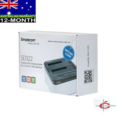 "Simplecom SD322 Dual Bay USB 3.0 Dock for 2.5"" & 3.5"" SATA HDD"