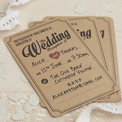 10 WEDDING RECEPTION INVITATIONS with ENVELOPES - VINTAGE AFFAIR KRAFT STYLE
