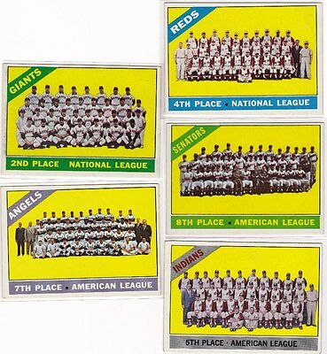 5 different 1966 Topps Baseball Team Cards, Nice Condition