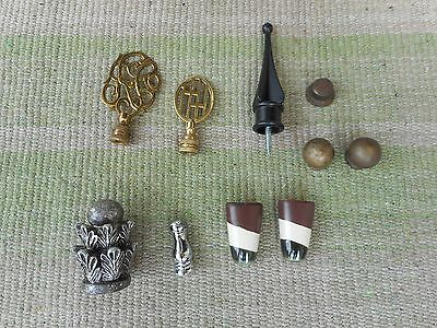 Lot of 10 Vintage Brass & Ceramic Lamp Toppers Finials & Wescal #8 Lamp Harp