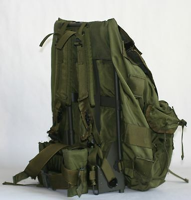 US MILITARY ALICE FIELD PACK LARGE W/FRAME/PAD/STRAPS OD GREEN W/ RADIO POUCH