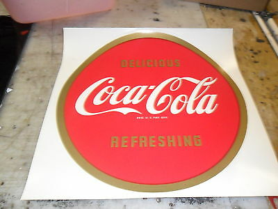"""COCA-COLA"" BUTTON  DECAL 12"" GREAT FOR FRAMING AWESOME"