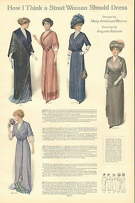 Ladies' Fashions, How I Think A Stout Woman Should Dress, 1912 Antique Print,