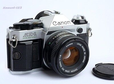 Canon AE-1 Program Camera w/ FD 50mm F/1.8 Lens Sporty Grip - Great Conditions !