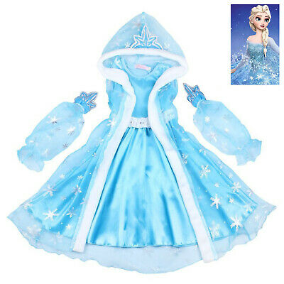Girls Frozen Elsa Princess Fancy Dress Up Party Costume Outfit+Cape Xmas Gift