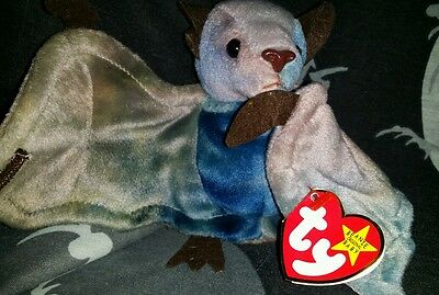 Batty the bat Ty Beanie Baby adorable night creature goth bat multi colored