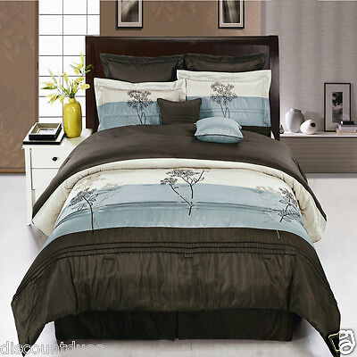 8pc Luxury Comforter Set Portland Blue Brown with Bed Skirt Cushions & Shams