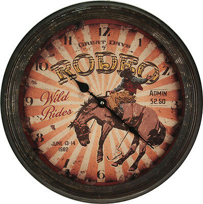 WESTERN RUSTIC RANCH COWBOY HOME DECOR RODEO BRONC RIDER WALL CLOCK