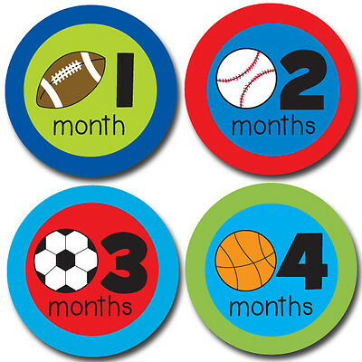 Sports Onesie Stickers, Monthly Baby Photo Stickers Months 1-12 for boys